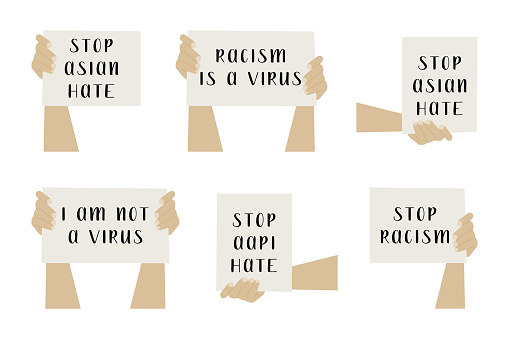 Stop asian hate. Hands holding banners. Activists with placards for demonstration, protest. Social issue, stop racism. Vector flat cartoon illustration, isolated on white