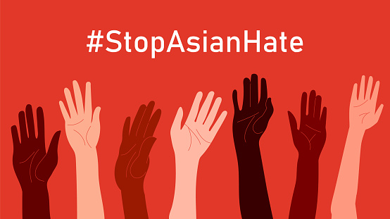 Stop Asian Hate. Hashtag StopAsianHate. Horizontal poster with people of different skin colors and raised hands. Stop AAPI hate campaign. Vector illustration in flat style for postcard, web, and etc
