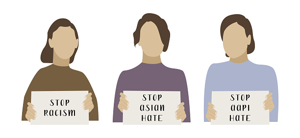 Stop asian hate. I am not a virus. Females holding banners. Activists with placards for demonstration, protest. Social issue, stop racism. Vector flat cartoon illustration, isolated on white