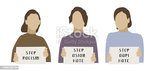 Stop asian hate. I am not a virus. Females holding banners. Activists with placards for demonstration, protest. Social issue, stop racism. Vector flat cartoon illustration