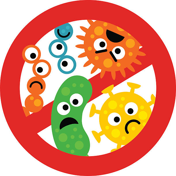 stop bacterium sign with cute cartoon gems in flat style - virus stock illustrations