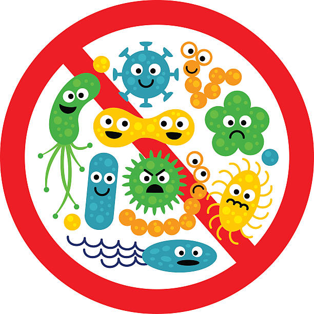 bildbanksillustrationer, clip art samt tecknat material och ikoner med stop bacterium sign with many cute cartoon gems - resistance bacteria