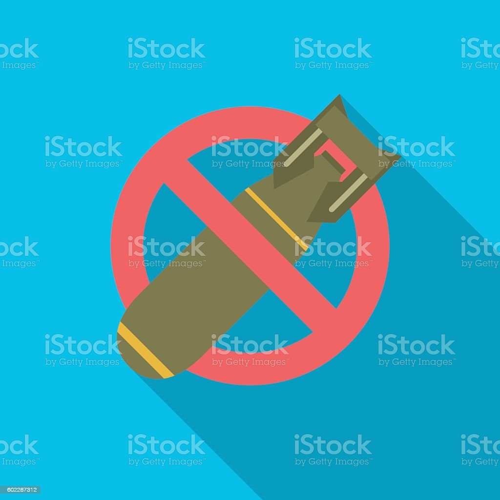 Stop bombing icon with long shadow. vector art illustration