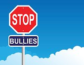 Vector of Stop Bullies sign with blue sky background.