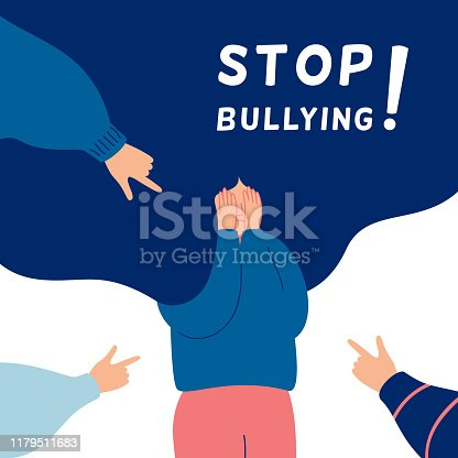 Stop bullying concept with Depressed girl surrounded by the hands of her peers pointing at her. Human character vector