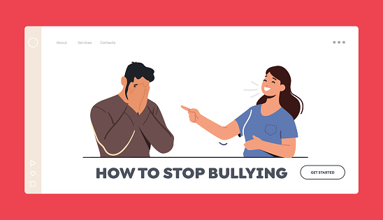 Stop Bullying Landing Page Template. Female Character Laugh on Man Sitting with Covered Face. Teen Crying, Bulling Abuse