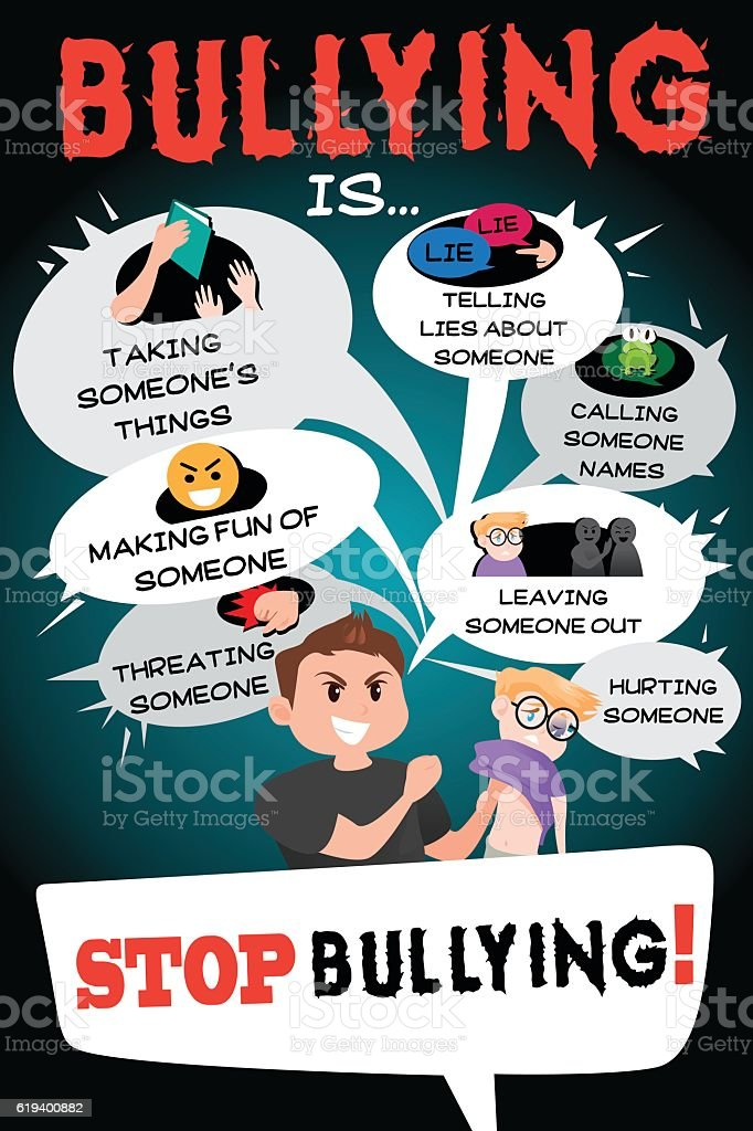 Stop Bullying Poster Infographic vector art illustration