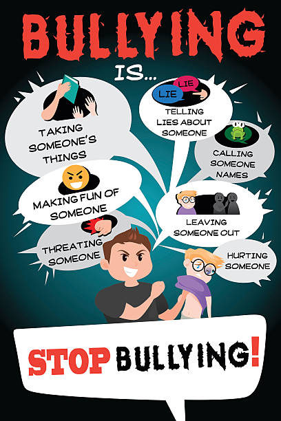 stop bullying poster infographic - child abuse stock illustrations