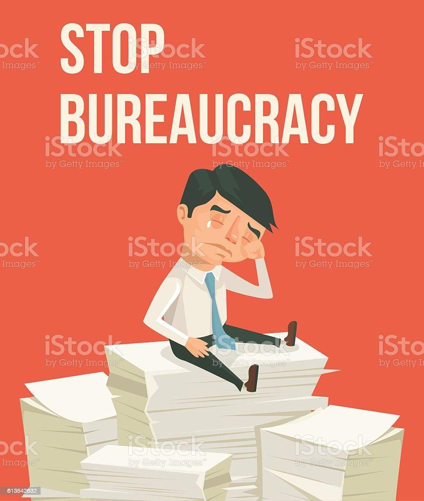 Stop bureaucracy. Office worker character cry vector art illustration