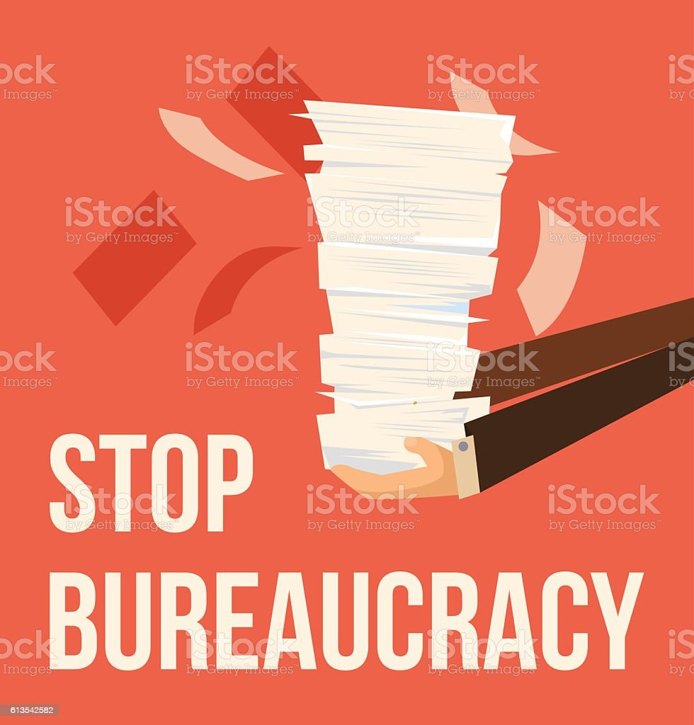 Stop bureaucracy. Vector flat cartoon illustration vector art illustration