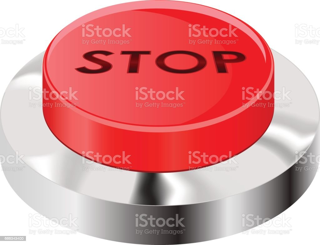 Stop Button Red Push Icon With Chrome Frame Stock Illustration - Download  Image Now
