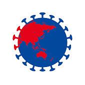 stop corona virus world globe icon vector illustration