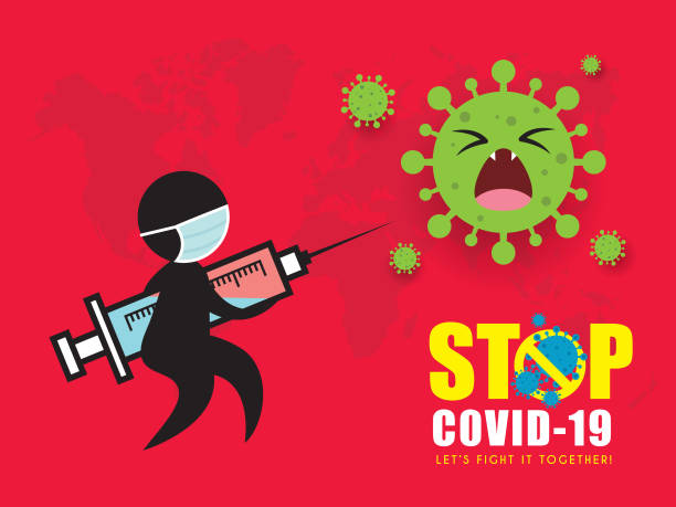 ilustraciones, imágenes clip art, dibujos animados e iconos de stock de detener coronavirus (covid-19) arte conceptual de la figura de palo sosteniendo jeringa luchando contra coronavirus - covid 19 vaccine