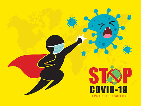 Stop coronavirus (covid-19) concept art of stick figure superman hitting coronavirus