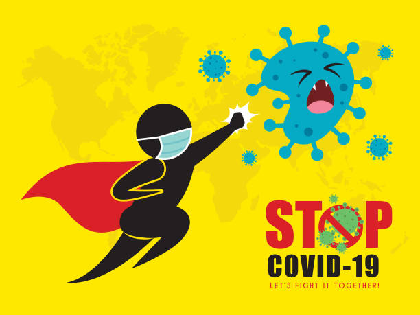stop coronavirus (covid-19) concept art of stick figure superman hitting coronavirus - covid mask stock illustrations