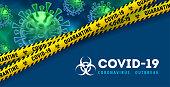 Covid-19. Coronavirus disease outbreak. Banner design with volumetric virus cells behind of danger tape on classic blue background. 2019-nCoV quarantine warning concept. Vector illustration.