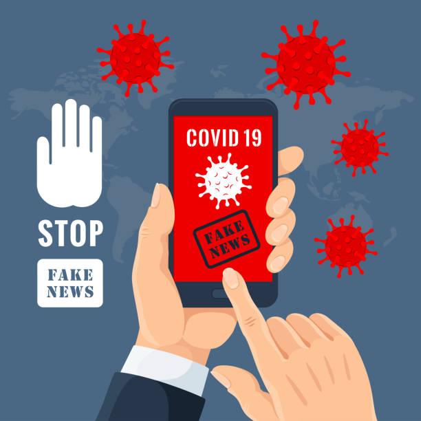 Stop Coronavirus fake news. vector art illustration