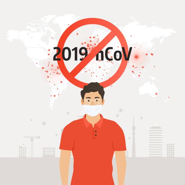 Stoppen Sie Coronavirus. Mann in schützender medizinischer Maske. Coronavirus-Symbol mit rotem Verbotsschild, 2019-nCoV. Vektor-Illustration – Vektorgrafik