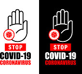 Vector of Stop Coronavirus COVID-19 outbreak warning with hand sign background.