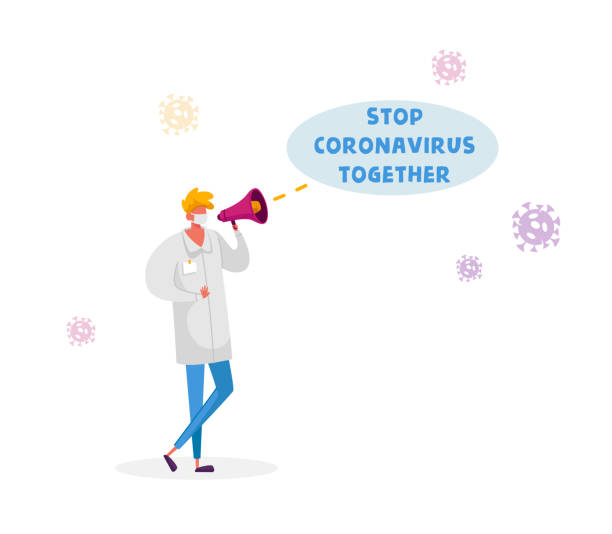 Stop Coronavirus Together Motivation Concept. Doctor Character Wearing White Medical Robe and Facial Protective Mask Yelling to Megaphone Informing People to Stay at Home. Cartoon Vector Illustration Stop Coronavirus Together Motivation Concept. Doctor Character Wearing White Medical Robe and Facial Protective Mask Yelling to Megaphone Informing People to Stay at Home. Cartoon Vector Illustration middle east respiratory syndrome stock illustrations
