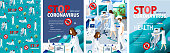 Stop coronavirus! Vector posters of doctor research coronavirus 2019-nCoV in laboratory; quarantined patients with nurse; medical treatment or prevention. Vector illustration for сover or background