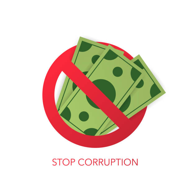 Stop corruption. Businessman refusing the offered bribe. Vector illustration Stop corruption. Businessman refusing the offered bribe. Vector stock illustration bribing stock illustrations