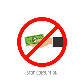Stop corruption hand with money icon. Corrupt cash payment refuse business.