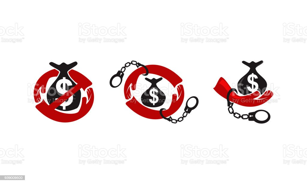 Stop Corruption Template Set vector art illustration