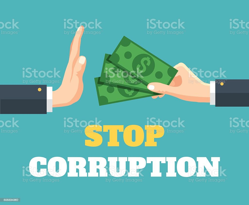 Stop corruption. Vector flat illustration vector art illustration