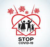 Stop Covid-19 Sign & Symbol, vector Illustration concept coronavirus COVID-19