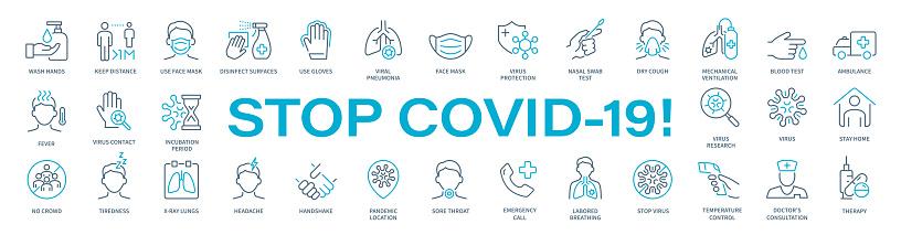 Stop COVID-19! -Virus Thin Line Icon Set. Coronavirus vector illustration