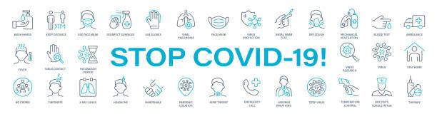Stop COVID-19! -Virus Thin Line Icon Set. Coronavirus vector illustration Stop COVID-19! -Virus Thin Line Icon Set. Coronavirus vector illustration covid icon stock illustrations