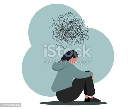 istock Stop cyberbullying. Depressed girl suffering from online harassment, isolated vector illustration in flat style 1224548497