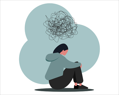 Stop cyberbullying. Depressed girl suffering from online harassment, isolated vector illustration in flat style