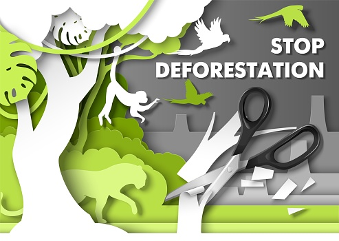 Stop deforestation poster. Jungle animals looking at scissors cutting rainforest tree, vector paper cut illustration.