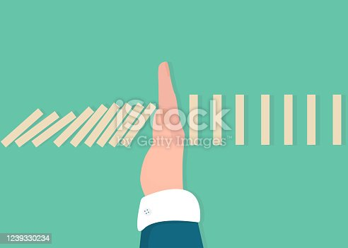Stop domino effect of market and economics collapse, financial crisis from COVID-19, fall domino effect but hand pick one to stop, vector graphic