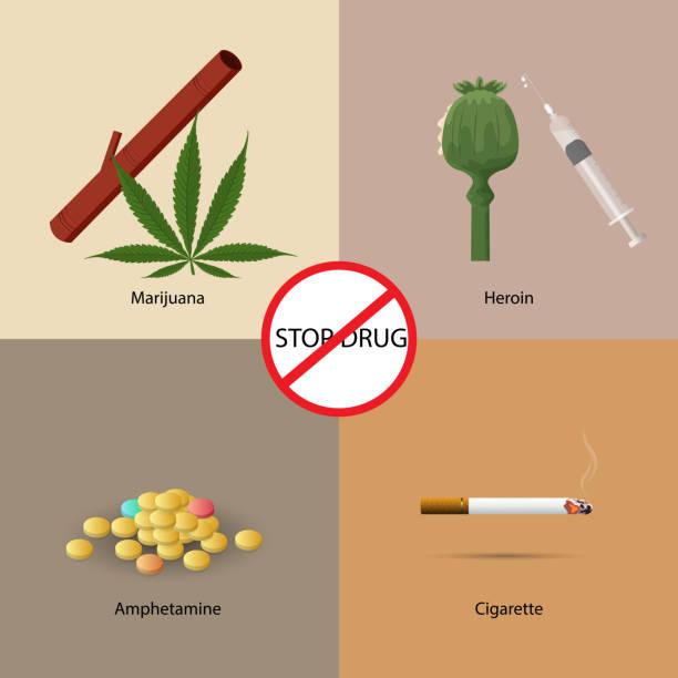 stockillustraties, clipart, cartoons en iconen met stop drugs vormgeving concept set met marihuana heroïne amfetamine en amfetamine plat pictogrammen geïsoleerde vectorillustratie - amfetamine