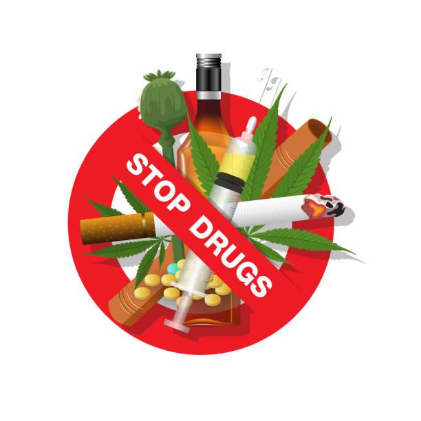 ilustrações de stock, clip art, desenhos animados e ícones de stop drugs, smoking marijuana heroin amphetamine and alcohol sign. vector illustration - narcótico