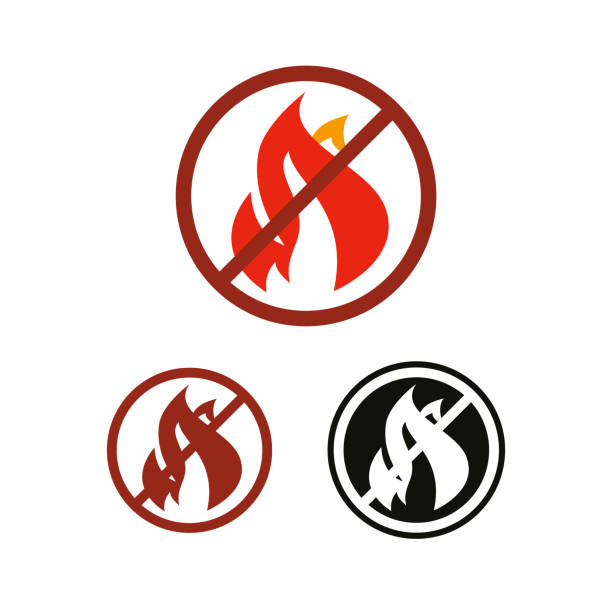 Stop fire and no flame vector icon No fire and flame vector icon, prohibition and forbidden. Anti-inflammatory effect sign anti inflammatory stock illustrations