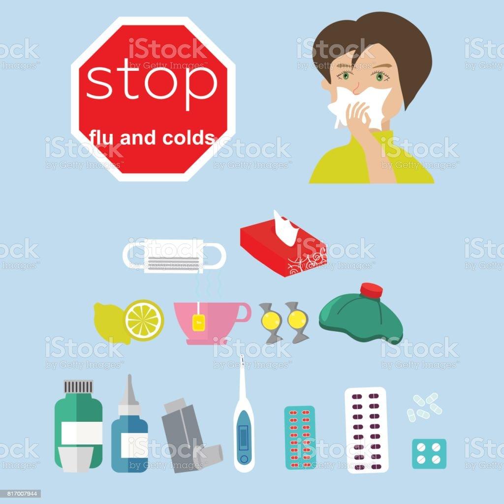 Ilustración de Detener La Gripe Y Resfriado Ideal Para La Salud Y ...