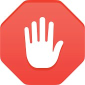 Stop gesture sign with shadows on individual layer. Large JPEG, (2900x2900), layered AI EPS 8. Archive: large 300 dpi layered PSD, screensize JPEG, 2 large PNG (icons and shadows), AI 7. Only linear gradients.