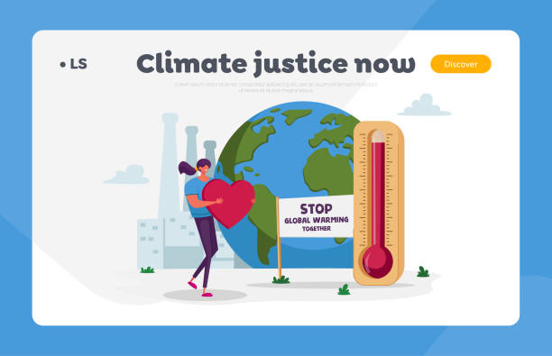 Stop Global Warming Together Environmental Landing Page Template. Female Character Carry Huge Red Heart near Earth Globe with Factory Pipes Emitting Co2 and Thermometer. Cartoon Vector Illustration Stop Global Warming Together Environmental Landing Page Template. Female Character Carry Huge Red Heart near Earth Globe with Factory Pipes Emitting Co2 and Thermometer. Cartoon Vector Illustration plastic pollution stock illustrations