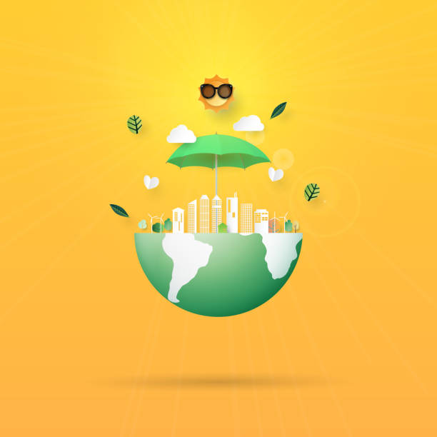 Stop global warming,Save the earth concept paper art style vector art illustration