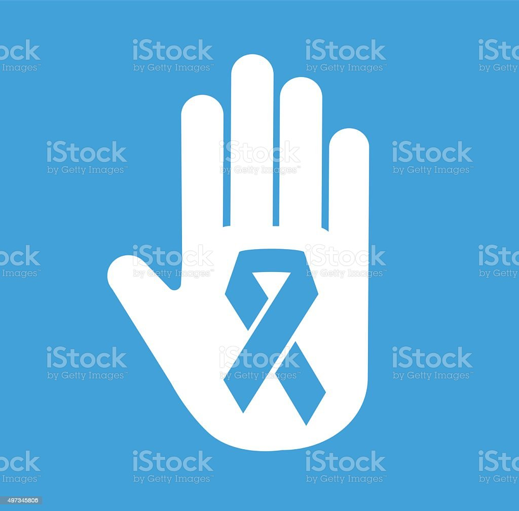 Stop hand cancer medical icon concept vector art illustration