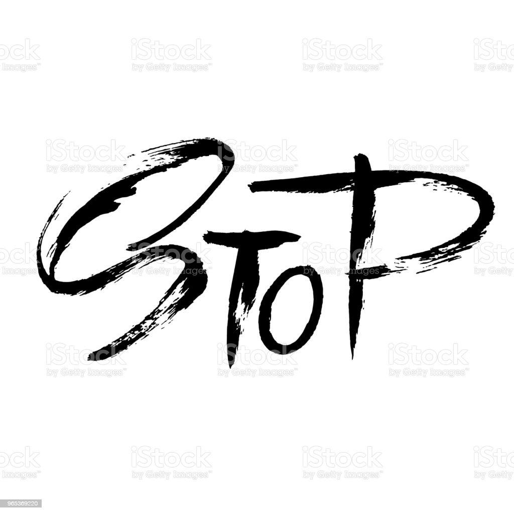 Stop. Hand drawn dry brush lettering. Ink illustration. Modern calligraphy. Vector illustration. stop hand drawn dry brush lettering ink illustration modern calligraphy vector illustration - stockowe grafiki wektorowe i więcej obrazów atrament royalty-free