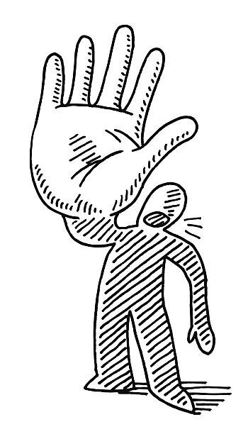 Stop Hand Gesture Cartoon Man Drawing Hand-drawn vector drawing of a Cartoon Man doing a Stop Hand Gesture. Black-and-White sketch on a transparent background (.eps-file). Included files are EPS (v10) and Hi-Res JPG. cartoon character figure stock illustrations