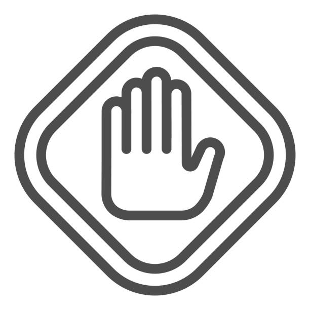 Stop hand gesture in frame line icon. Caution and hazard, warning palm symbol, outline style pictogram on white background. Construction sign for mobile concept, web design. Vector graphics. Stop hand gesture in frame line icon. Caution and hazard, warning palm symbol, outline style pictogram on white background. Construction sign for mobile concept, web design. Vector graphics human finger stock illustrations