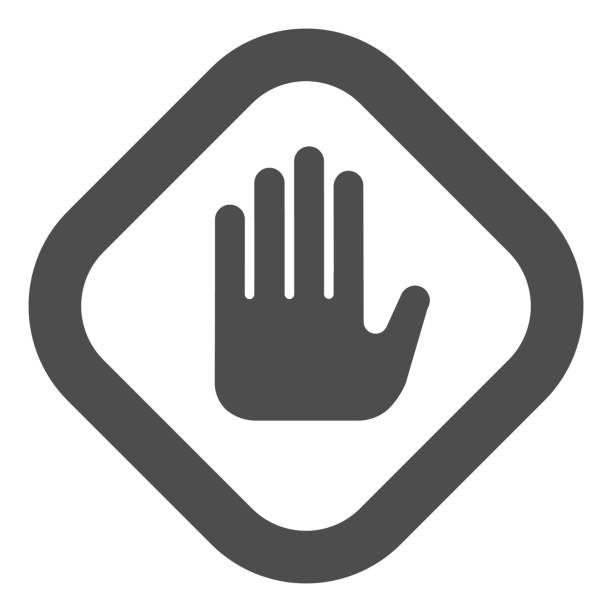 Stop hand gesture in frame solid icon. Caution and hazard, warning palm symbol, glyph style pictogram on white background. Construction sign for mobile concept, web design. Vector graphics. Stop hand gesture in frame solid icon. Caution and hazard, warning palm symbol, glyph style pictogram on white background. Construction sign for mobile concept, web design. Vector graphics human finger stock illustrations