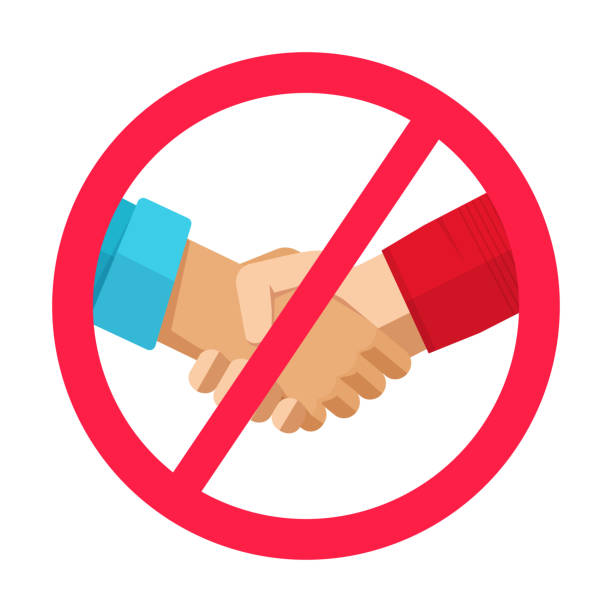 Stop hand shake sign not to spread infection virus or prohibition of people handshake caution icon vector flat cartoon illustration, idea of pandemic warning or forbidden symbol modern design image vector art illustration