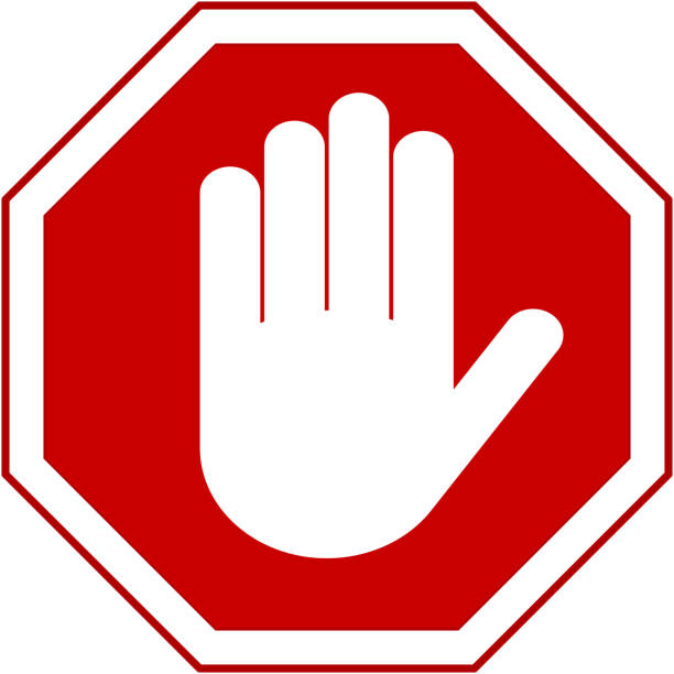 stop hand sign - stop sign stock illustrations
